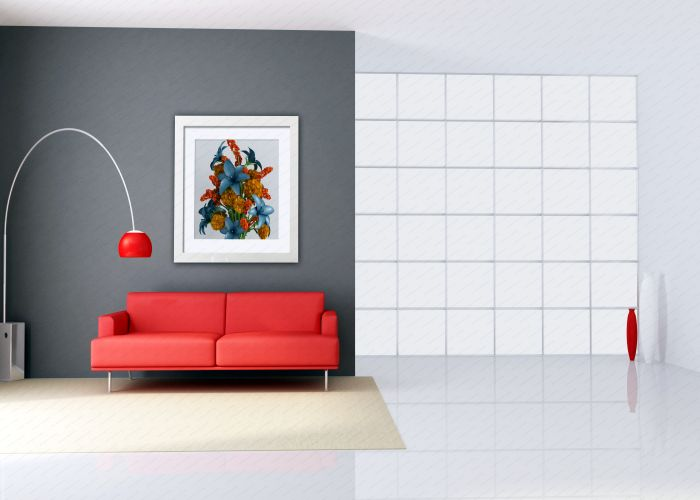 minimalist interior with red couch and big windows - rendering - the art picture on wall is a my rendering composition