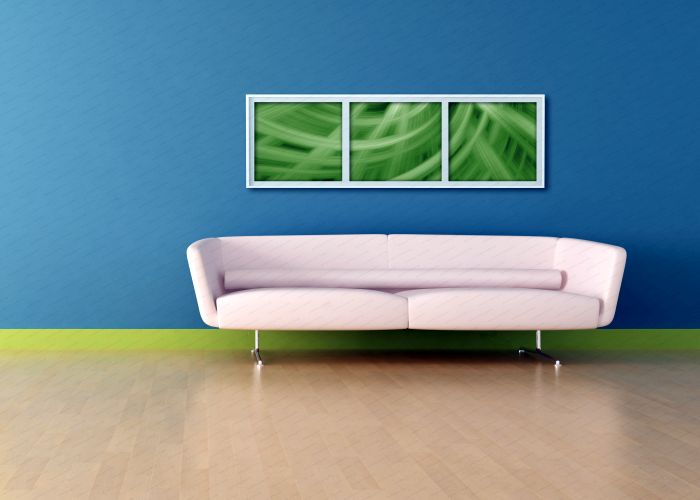 blue living room with white sofa and abstract picture,the image on wall is a my composition