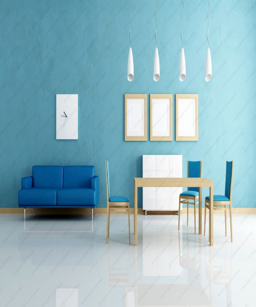 contemporary  blue and white dining room - rendering